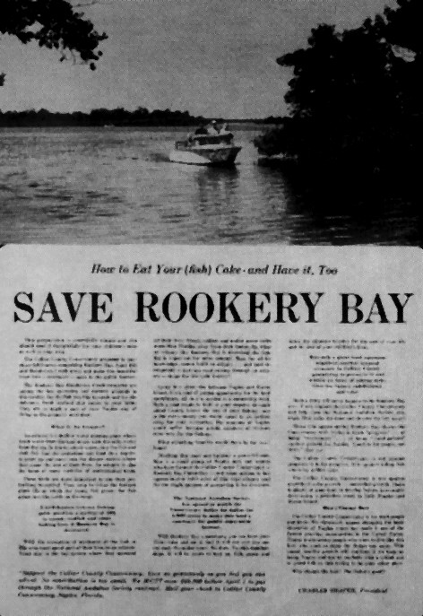 """Old newspaper clipping that says, """"Save Rookery Bay"""""""