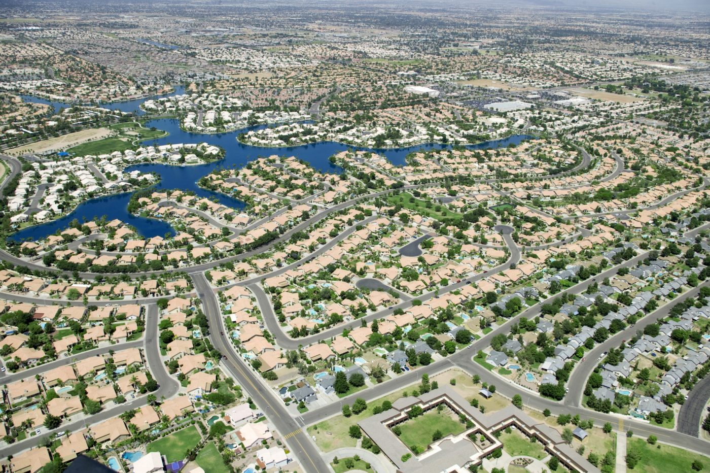 Aerial shot of densely packed homes